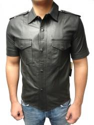 Kurzarm-Lederhemd Ricano schwarz