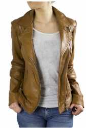 Womens Leather Jacket Ricano Kaise Lambskinleather Cognac