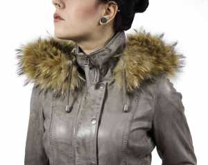 Womens Leather Coat Ricano Manta Lambskinleather grey