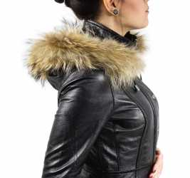 Womens Leather Coat Ricano Manta Lambskinleather Black