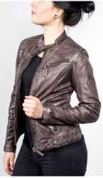 Womens Leatherjacket Ricano Jasmine Lambskin Leather Brown