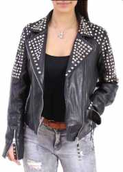 Womens Leather Jacket Ricano Studd Lambskinleather Black
