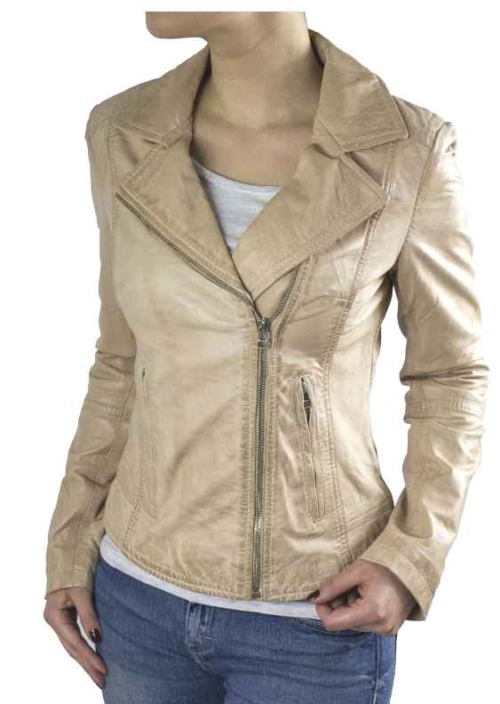 Womens Leather Jacket Ricano Kaise Lambskinleather beige