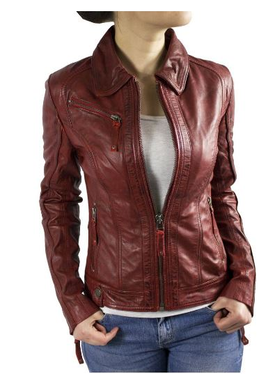 Womens Leatherjacket Ricano Sabra Lambskinleather Red