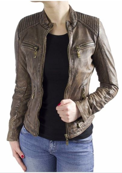 Womens Leatherjacket Ricano Rihanna Lambskinleather Brown