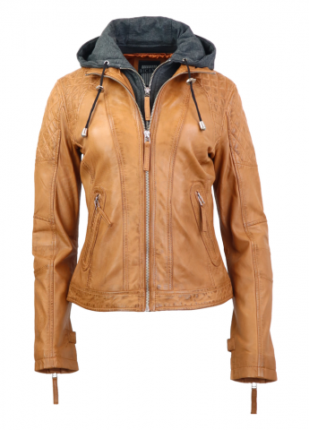 Womens Leather Jacket Ricano Samantha Cognac
