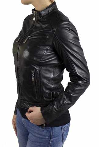 Womens Leather Jacket Ricano Rihanna Lambskinleather black