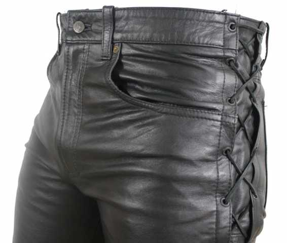 1379f1bd248d Ricano lace-up leather pants cow waxy nappa leather black
