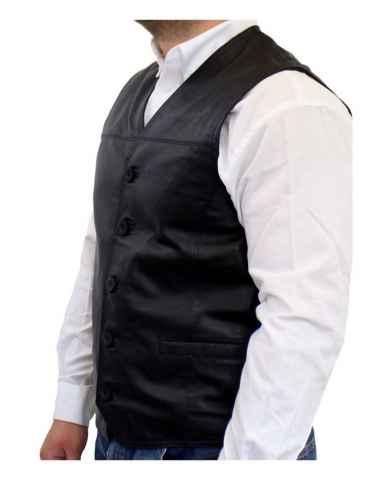 Ricano leather vest lamb nappa leather black