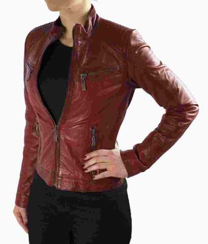 Womens Leather Jacket Ricano Rihanna Lambskinleather Red