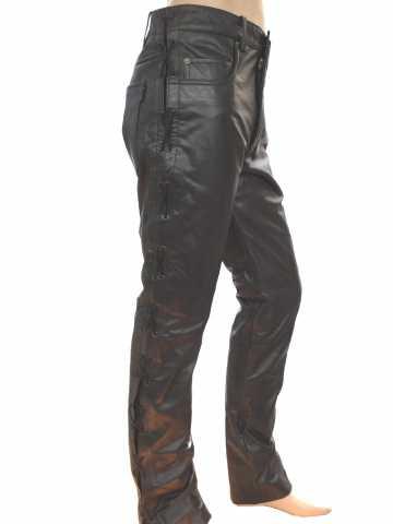 6cf910dd3cb2 lace-up leather pants Buffalo Nappa leather black