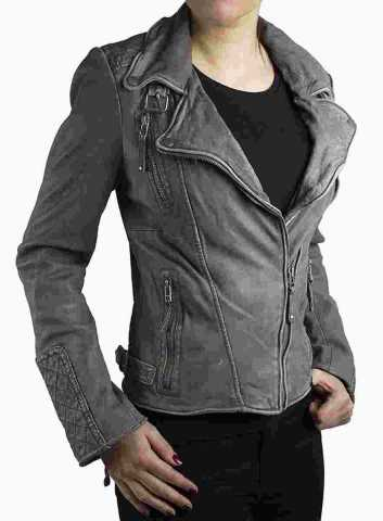 Womens Leather Jacket Ricano Vera Lambskinleather Vintage-Grey