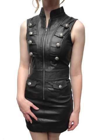 Damen Lederkleid Ricano Gotik schwarz