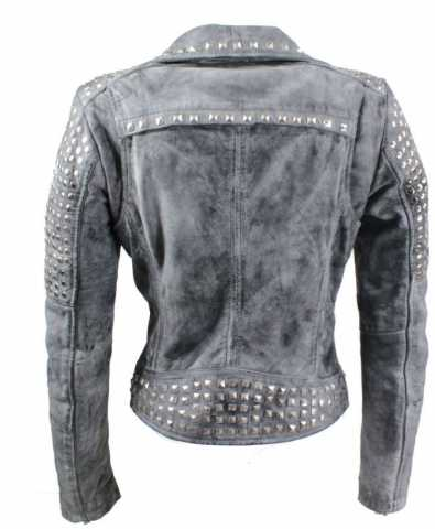 Womens Leather Jacket Ricano Studd Lambskinleather Vintage-Grey