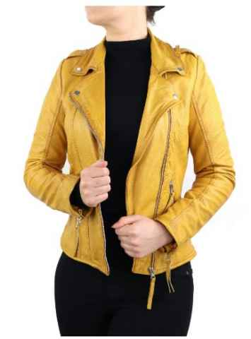 Leather Jacket Women Ricano Relly 2 yellow