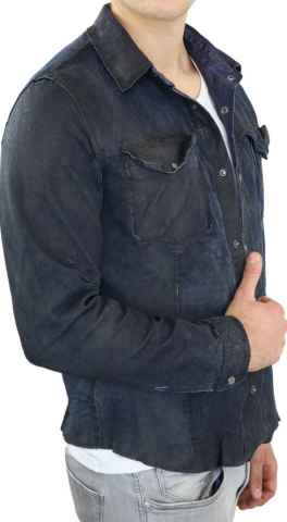 Leather shirt Ricano Reverse lambskin leather blue