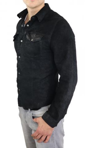 Lederhemd Ricano Reverse Shirt schwarz