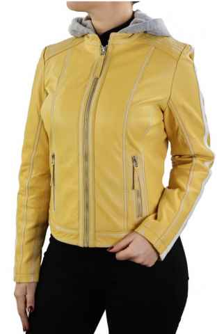 Lederjacke Damen Ricano Fitten gelb